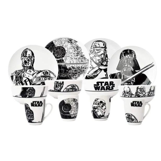 Vajilla Star Wars 12 Piezas Porcelana Colección Darth Vader R2D2 C3PO StormTrooper Estrella de la muerte