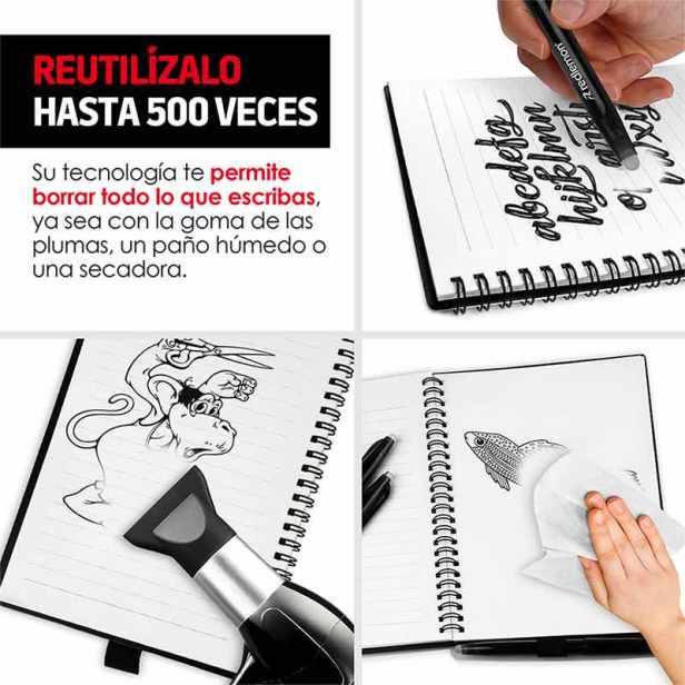 Cuaderno Inteligente Reutilizable De 50 Hojas 3 Plumas Redlemon