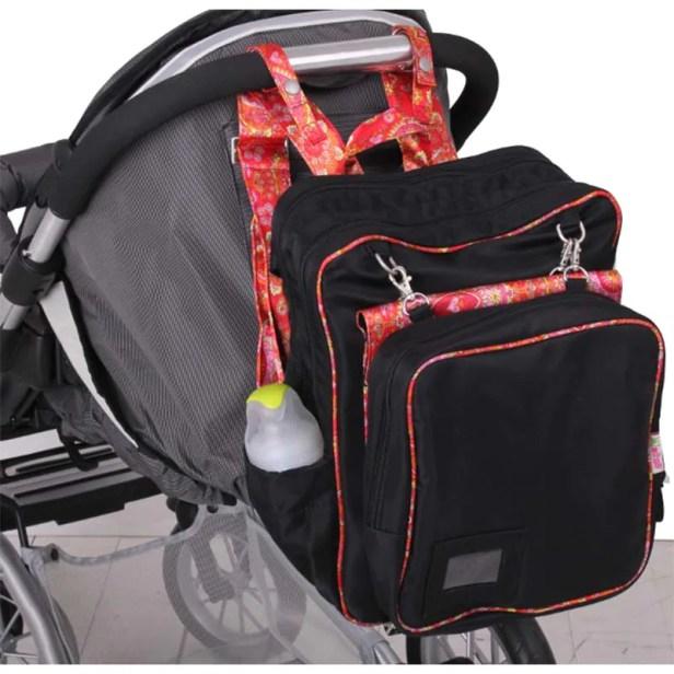 Pañalera 4 en 1 (bolsa, mochila y adaptable a carriola) Negra