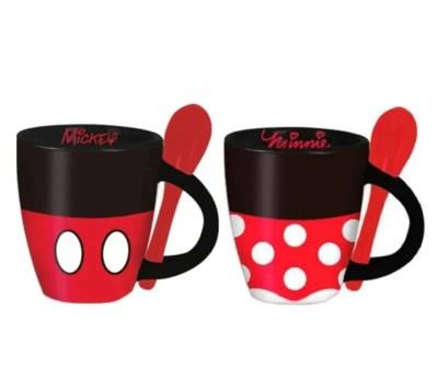 Set Mickey & Minnie Mouse 2 Tazas / Tazas Con Cuchara Disney