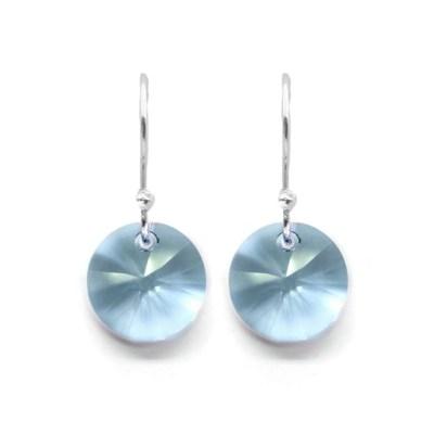Aretes ZVEZDA, Swarovski Crystals, corte Xilion, color Aquamarine, plata mexicana .925