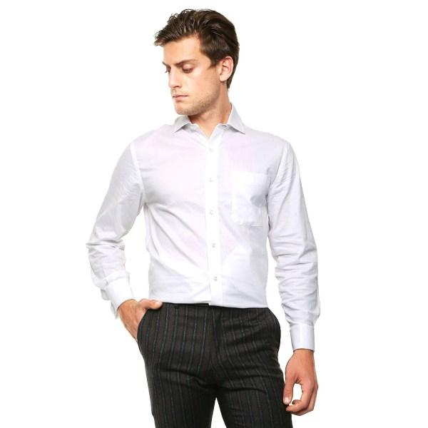 Camisa Blanca Lisa para Caballero