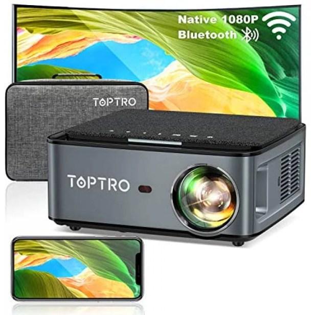 Proyector TOPTRO Portátil Bluetooth 1080p 4K -Negro
