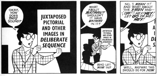 A look inside Understanding Comics: The Invisible Art by Scott McCloud, featuring the definition of sequential art.