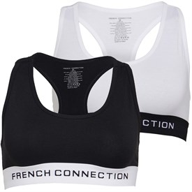 French Connection Womens Two Pack Crop Top Black/Silver/White/Silver