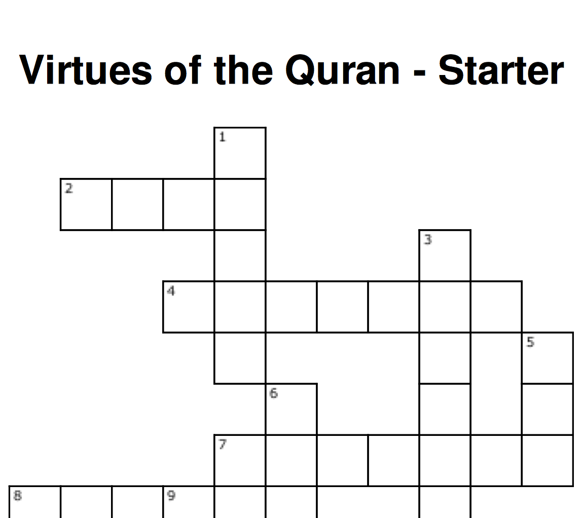 Virtues Of The Quran Crossword Safar Resources