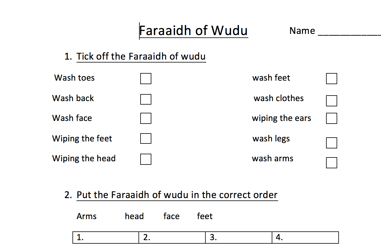 Compulsory Acts Of Wudu Worksheet Safar Resources Beta