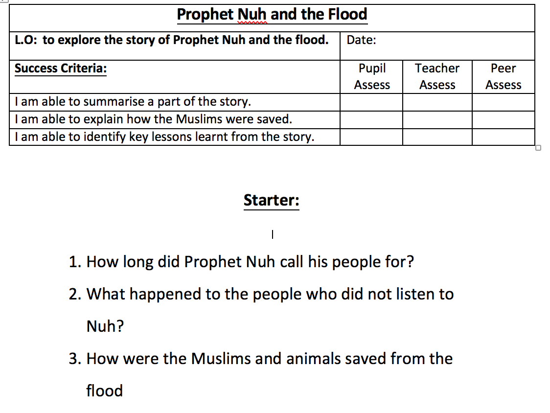 Prophet Nuh Amp The Flood Worksheet Safar Resources Beta