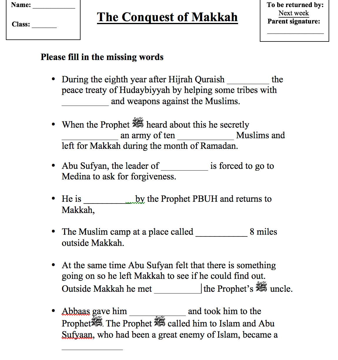 The Conquest Of Makkah Worksheet Safar Resources Beta