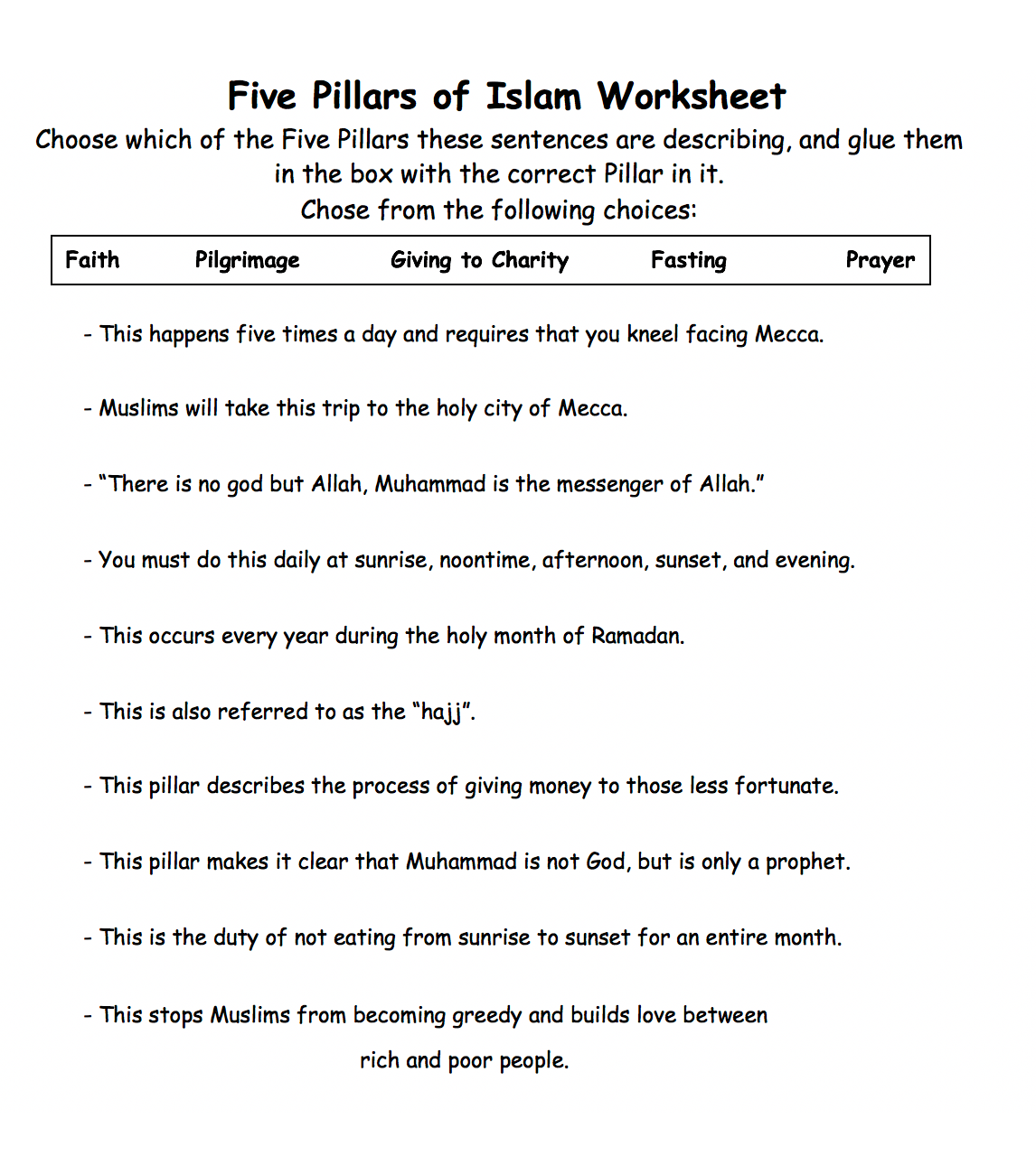 Five Pillars Of Islam Worksheet 1 Safar Resources Beta