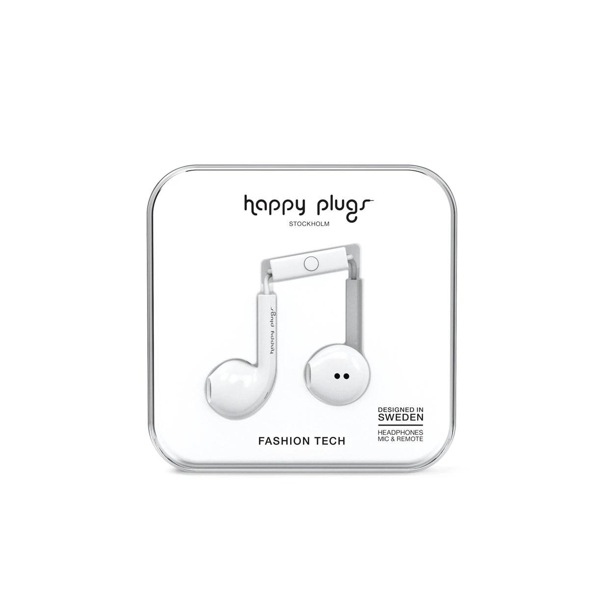 Audifonos C Microfono Earbud Plus Blanco Happy Plugs