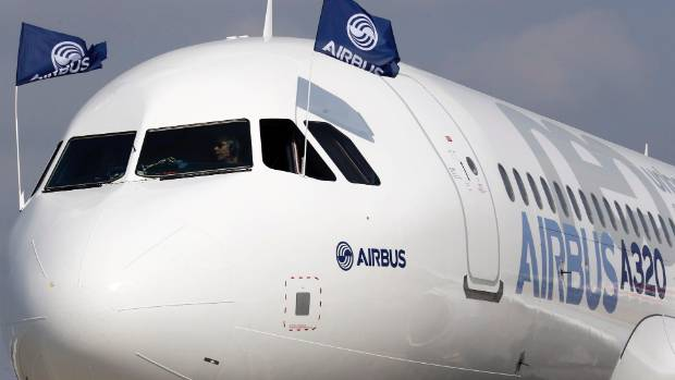 Flight test engineers taxi the Airbus A320neo.