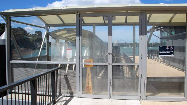 The Birkenhead wharf on-ramp and security door that Arehana Anderson was locked behind alone at 9.00pm on September 11.