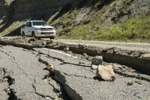 Damage on the inland road to Kaikoura.