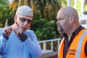 Prime Property owner Eyal Aharoni in discussions with Mike Scott from Wellington City Council about his condemned ...