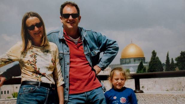 Labour mp David Shearer and wife Anuschka Meyer in Jerusalem with their daughter.