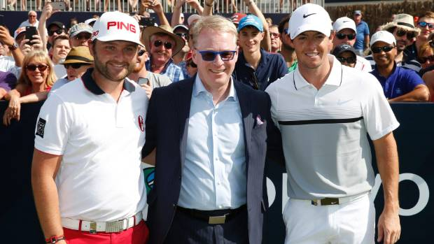 Keith Pelley, pictured with Rory McIlroy, right, and Andy Sullivan, is trying to make golf more popular with plenty of ...