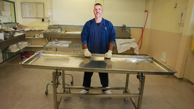 Garth Wright is a technician at the Waikato DHB mortuary at Waikato Hospital.