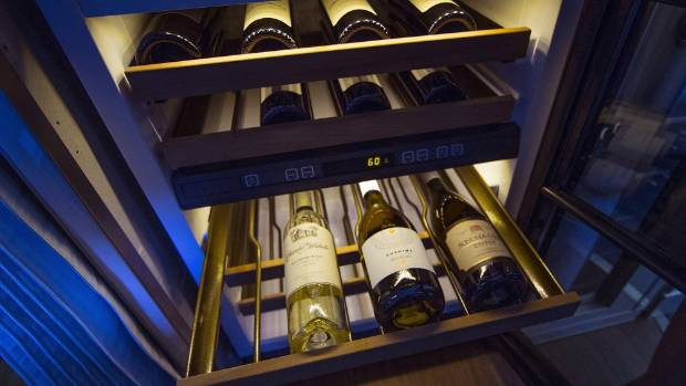The wine gallery of Crystal Cruises new Boeing 777-200LR.