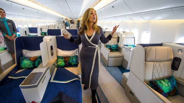 Edie Rodriguez, CEO of Crystal Cruises, explains the layout of her brand new 777 luxury jet at Boeing Field on August 1.