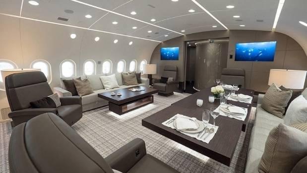 On board the private Boeing Dreamliner, the BBJ 787 VVIP.