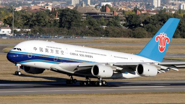 The first Airbus A380 delivered to China Southern Airlines takes off from Toulouse-Blagnac Airport, near Toulouse.