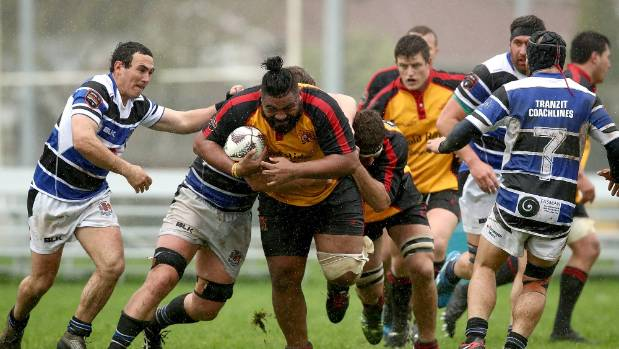 George Siapso Lelenoa of Thames Valley is tackled  during the round two Heartland Championship match between Thames ...
