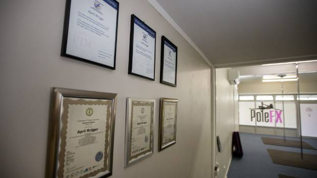 The walls at April Krijger's pole dancing studio, Pole FX in New Plymouth, display her qualifications to teach the sport ...