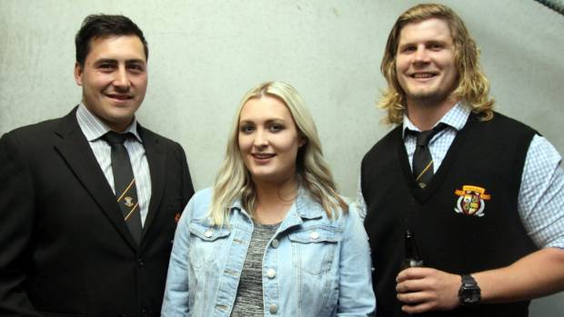 Brett Ranga was named Player of the Year (coach award), here at the prizegiving with Audrey Dawson and Aaron Attens.