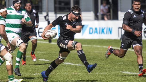 New Zealand Heartland XV lock Eric Duff pulls out the goose step against NZ Marist in Timaru.