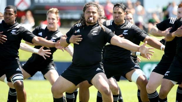 The NZ Heartland XV perform the haka before kick-off against NZ Marist in Timaru.