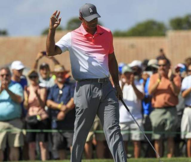 Woods Acknowledges The Crowd As He Makes The Cut At A Us Tour Event For Just