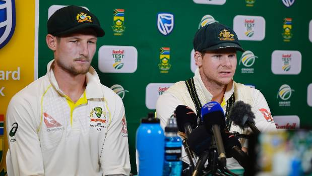 Steven Smith (R) and Cameron Bancroft. Bancroft admitted to attempting to change the condition of the ball by using a ...