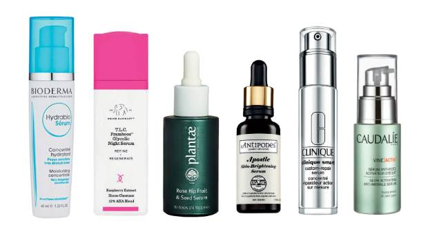 L to R: Bioderma Hydrabio serum, $48; Drunk Elephant T.L.C. Framboos Glycolic Night serum, $143; Plantae Rose Hip Fruit ...