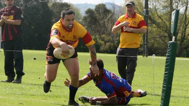 Matiu Abraham about to score his try. Thames Valley vs North Otago, Boyd Park, Te Aroha, Saturday, September 22. TV won 43-21.