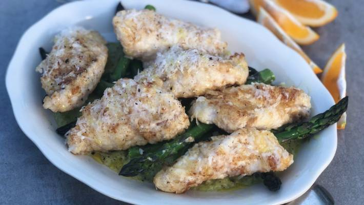 They're not the prettiest fish, but monkfish are delicious, especially with parmesan and asparagus.
