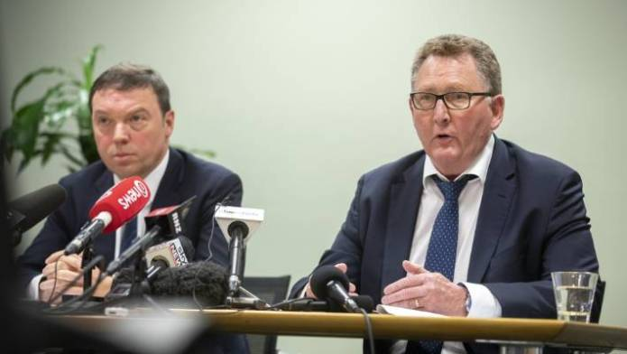 The Financial Markets Authority chief executive Rob Everett (Left) and The Reserve Bank of New Zealand Governor Adrian Orr deliver the findings of their joint review into the conduct and culture of banks in New Zealand.