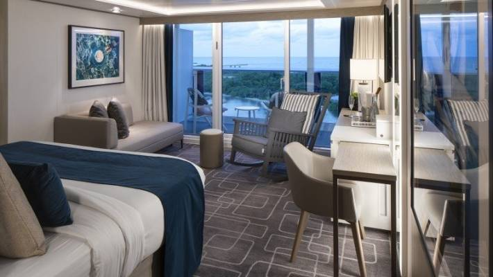 The Sky Suite at Celebrity Edge has a king-size bed with exterior views.