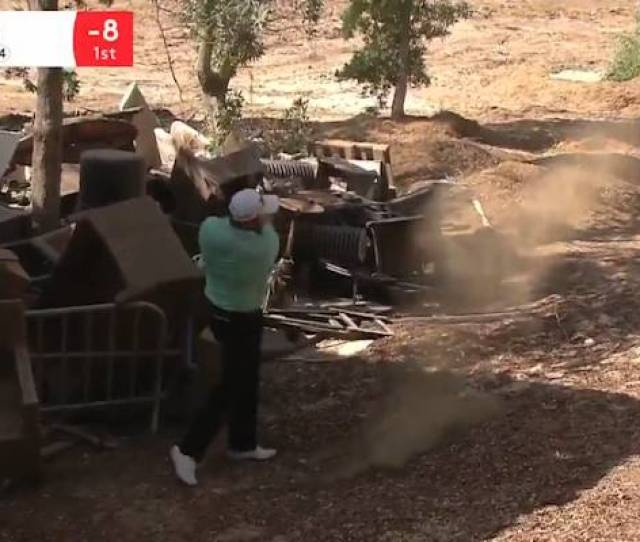 Irishman Shane Lowry Plays From A Rubbish Dump After A Wild Day Off The Tee