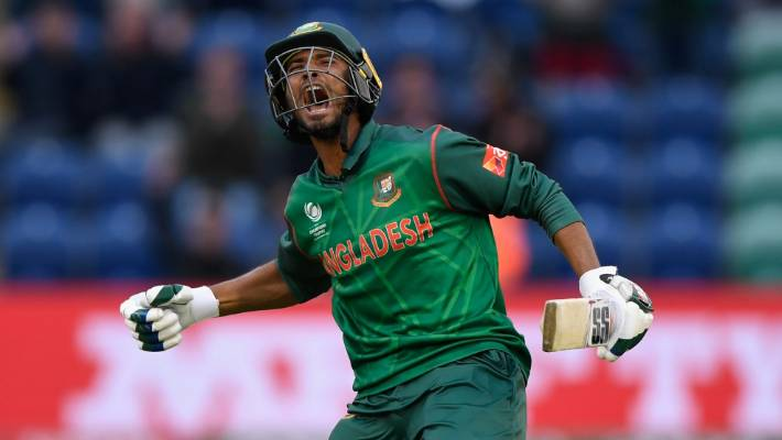 Mahmudullah celebrates after hitting the winning runs for Bangladesh against the Black Caps in Cardiff in 2017 which bundled New Zealand out of the Champions Trophy.