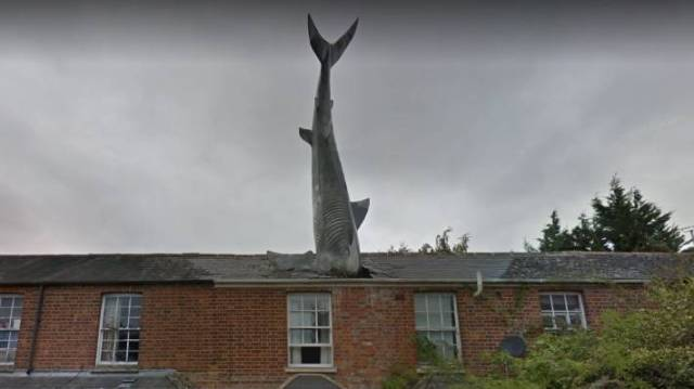 The shark in 2018, as seen on Streetview. It became a tourist landmark.