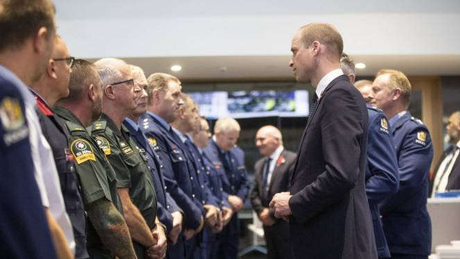 Prince William met with first responders at the justice and emergency services precinct in Christchurch on Thursday.