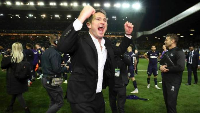 Derby County manager Frank Lampard celebrates following their triumph over Leeds.