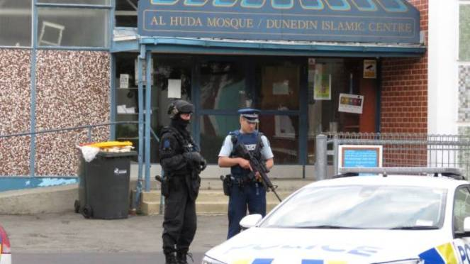 Police guard Masjid Al-Huda on the day of the March 2019 Christchurch terror attack.