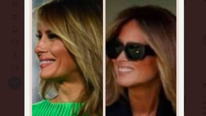 Melania Trump's smile in a new picture has set alight claims there is a Melania Trump body double once again.