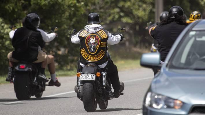 A Tribesmen gang member rides alongside other bikies on Yaldhurst Rd in Christchurch last year. (File photo).