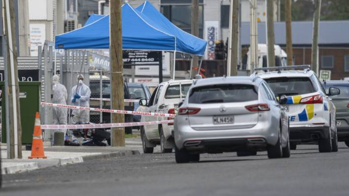 Police at the scene of a serious assault in Napier on Monday afternoon.