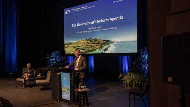 Minister for the Environment David Parker tells the Environmental Defence Society conference he isn't worried about recent farmers' protests over freshwater reforms.