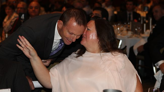 Gina Rinehart whispers to Abbott