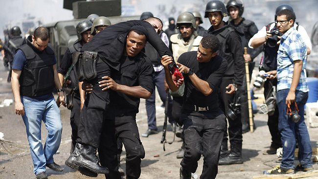 Injured Egyptian security forces